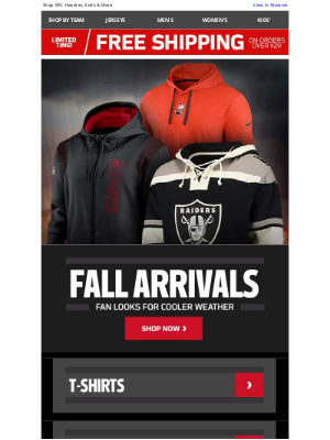 NFLshop - Fan Styles Made For Fall & Free Shipping