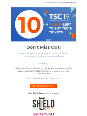 [Exclusive Offer] Use Promo Code LASTCHANCE19 for $200 Off Your TSC19 Ticket