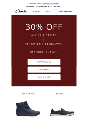 Clarks Shoes - 30% off sale styles & more