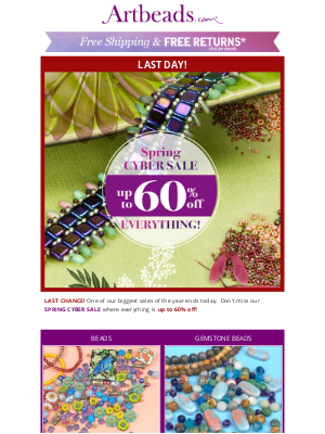 Artbeads - ⏰ LAST DAY! Up to 60% Off Everything at Spring Cyber Sale
