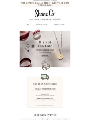Shane Co. - It's not too late! Get your gifts in time