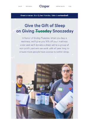 This Giving Tuesday, we give a sheet.