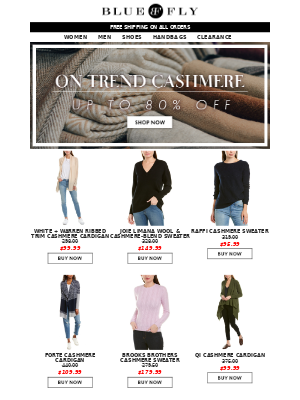 Bluefly - Must-Have Cashmere + Shop Clearance 70-90% Off