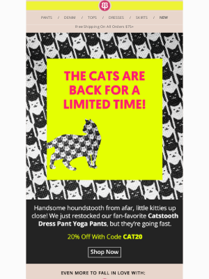 Betabrand - Catstooth Pants Are Back - Limited Time Only!