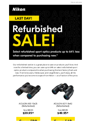 NikonUSA - Refurbished Sale Ends Today!