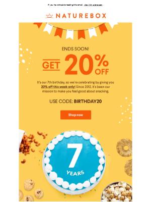 2 days left: Save 20% on snacks! ⏳