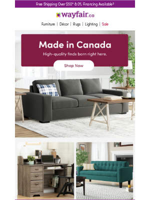Wayfair (CA) - Made in Canada: desks, sofas & more must-haves →
