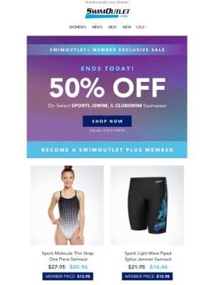 SwimOutlet - 🔔MEMBERS: Last Day for 50% OFF Select Swimwaer🔔