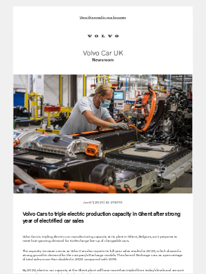 Volvo Cars - [Volvo Car UK News] Volvo Cars to triple electric production capacity in Ghent after strong year of electrified car sales