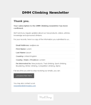 DMM Climbing Newsletter: Subscription Confirmed