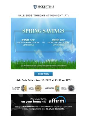 BeckerTime - Spring Savings Sale Ends TONIGHT!
