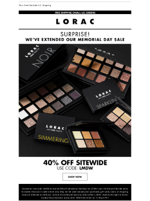 LORAC Cosmetics - Last Chance: 40% Off Sitewide