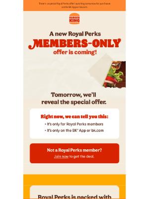 Burger King - 👑🚨LAUNCHING TOMORROW: An exclusive Royal Perks offer!