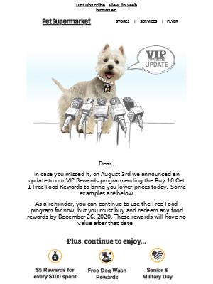 Pet Supermarket - Important VIP Rewards Update
