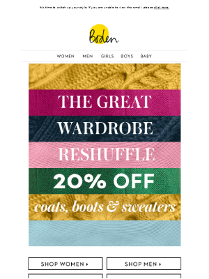 20% OFF coats, boots & sweaters