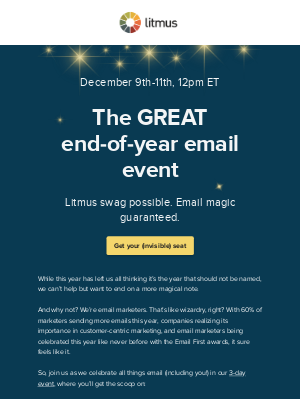 Litmus - Tomorrow: Calling all email wizards…