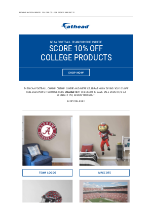 Fathead - Ready... set... HIKE! Score 10% off College today and tomorrow only 🏈