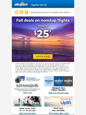 Nonstop flights and new fares as low as $25