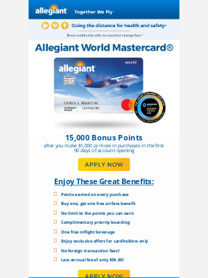 15,000 bonus points offer - equal to $150 off your next trip