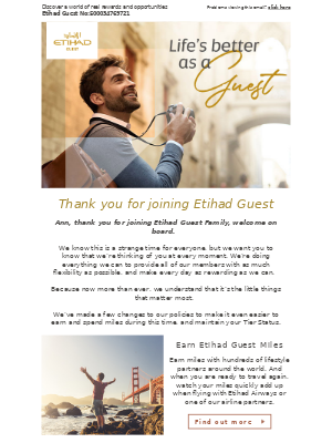 Etihad Airways - Welcome to Etihad Guest, Ann
