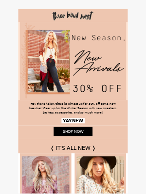 FINAL CALL: 30% Off New Items
