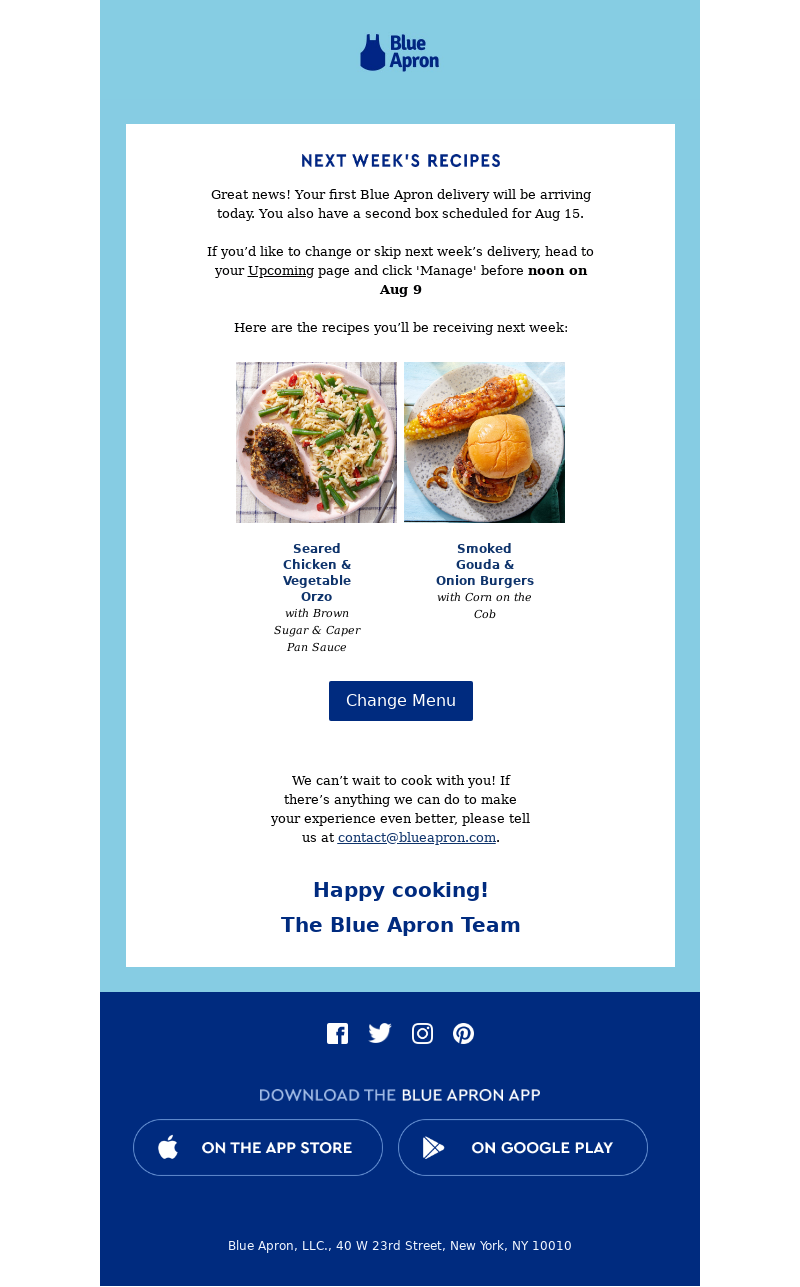 Blue Apron Next Week's Recipes Great news! Your first Blue Apron delivery w