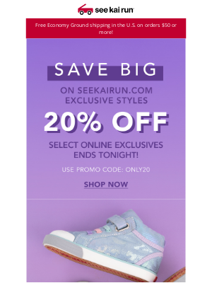 See Kai Run - Last Chance to Save with 20% Off Our SeeKaiRun.com Exclusives!