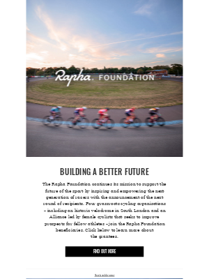 Rapha Foundation – new grantees announced