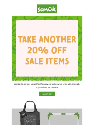 Sanuk - Take another 20% off all on-sale styles.