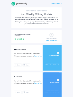 Your Weekly Writing Stats + 50% Off Any Premium Plan Continues