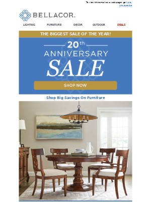 Bellacor - Our Biggest Sale of the Year! 20th Anniversary Sale
