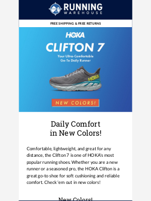 Running Warehouse - HOKA Clifton 7 - Your Ultra-Comfortable Daily Runner in New Colors!