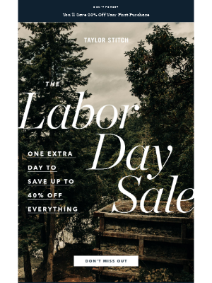 Taylor Stitch - One Last Shot At Savings—The Labor Day Sale