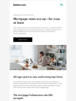 Better - Mortgage News: Rates rise on news of COVID-19 vaccines