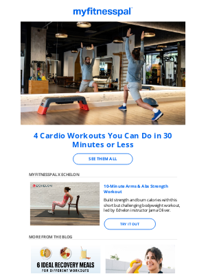 MyFitnessPal - 4 Cardio Workouts You Can Do in 30 Minutes or Less