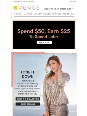 VENUS Fashion - Last Day to Earn While You Shop!
