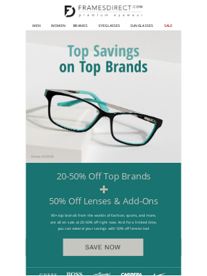 FramesDirect - 80+ Top Brands: 20-50% Off Today!