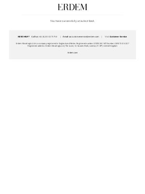 Erdem Moralioglu Ltd (UK) - Newsletter unsubscription success