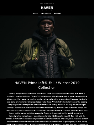 HAVEN PrimaLoft® Fall / Winter 2019 Collection