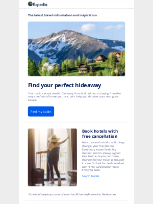 Expedia - Discover cabin escapes that feel worlds away