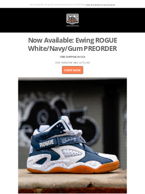 Ewing Athletics - Now Available: Ewing ROGUE White/Navy/Gum PREORDER