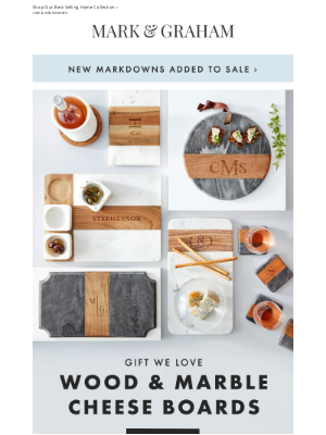 Mark and Graham - Gift We Love ❤: Engraved Wood & Marble Cheese Boards