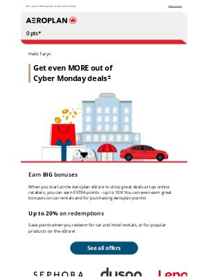 Air Canada - Shop Cyber Monday deals and earn BIG bonuses