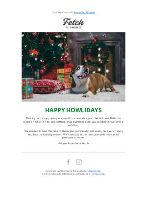 Fetch Pet Products - Happy HOWLidays!