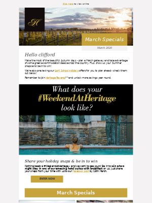 March deals just for you from Heritage Hotels, clifford.