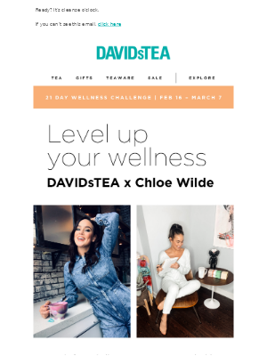 Join our 21 days of wellness challenge with Chloe Wilde
