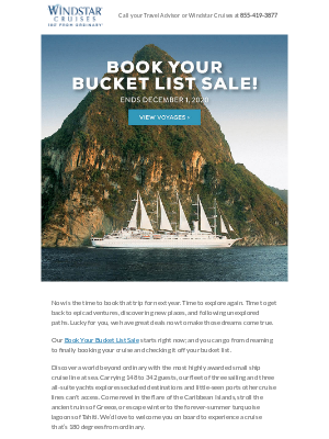 Windstar Cruises - Longing to travel? These Bucket List Sale deals are worth the wait.