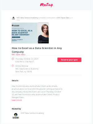 Meetup - 📣 Just scheduled: How to Excel as a Data Scientist in Any Company