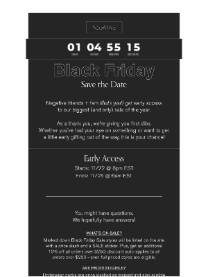 Negative Underwear - SAVE THE DATE! BLACK FRIDAY EARLY ACCESS