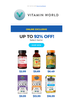Vitamin World - Up to 92% Off. That's Not a Typo.
